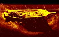 SHIP Sonar Image: A sonar image of a wooden shipwreck in Maryland waters.